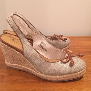G. H. Bass sparkly silver rope-wrapped wedges